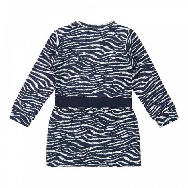 Dirkje girls dress dark blue with zebra print