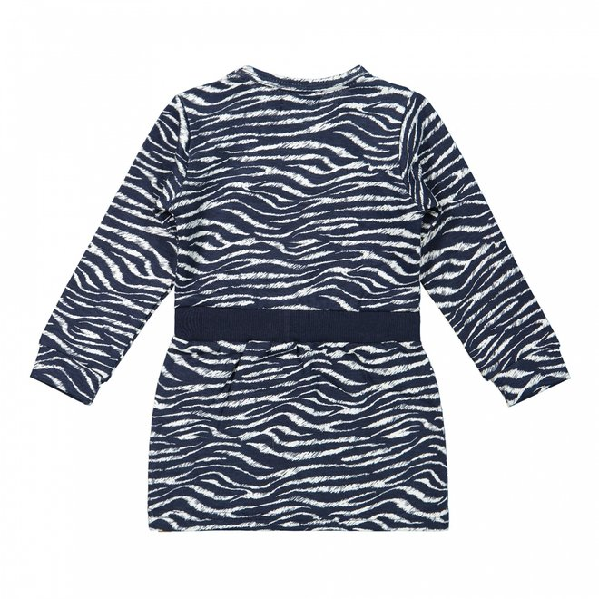 Dirkje Mädchen Kleid dunkelblau mit Zebradruck