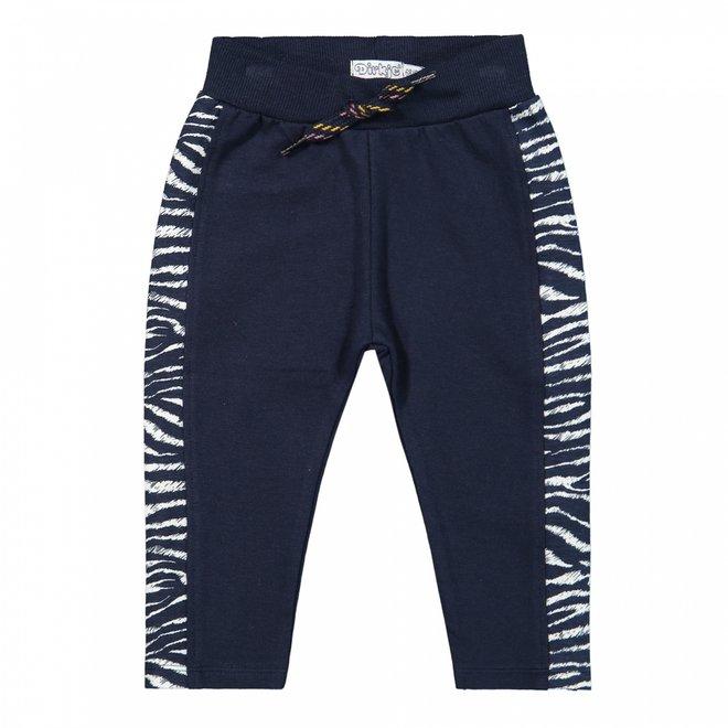 Dirkje girls trousers dark blue with zebra print detail