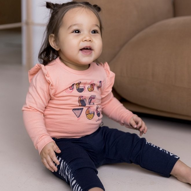 Dirkje meisjes broek donkerblauw met zebraprint detail