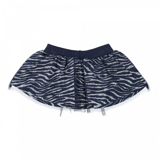 Dirkje meisjes tule rok donkerblauw zebraprint
