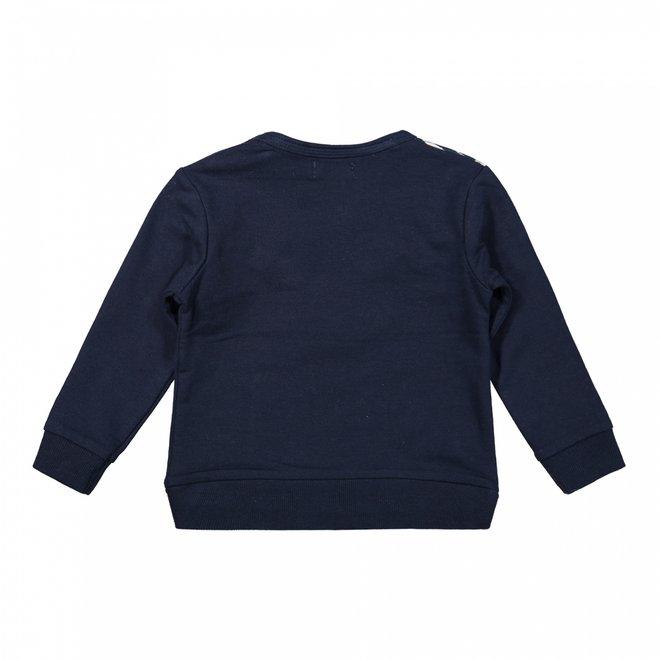 Dirkje meisjes trui donkerblauw geel zebraprint
