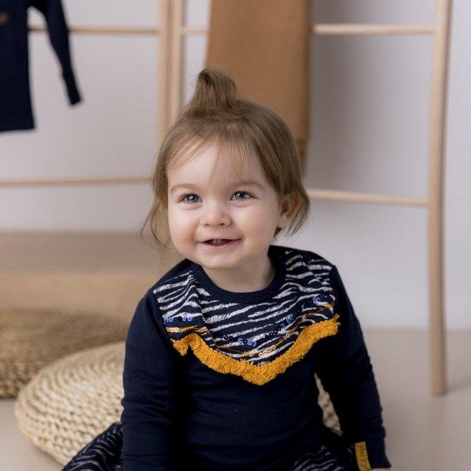 Dirkje Mädchen Pullover dunkelblau gelb Zebradruck