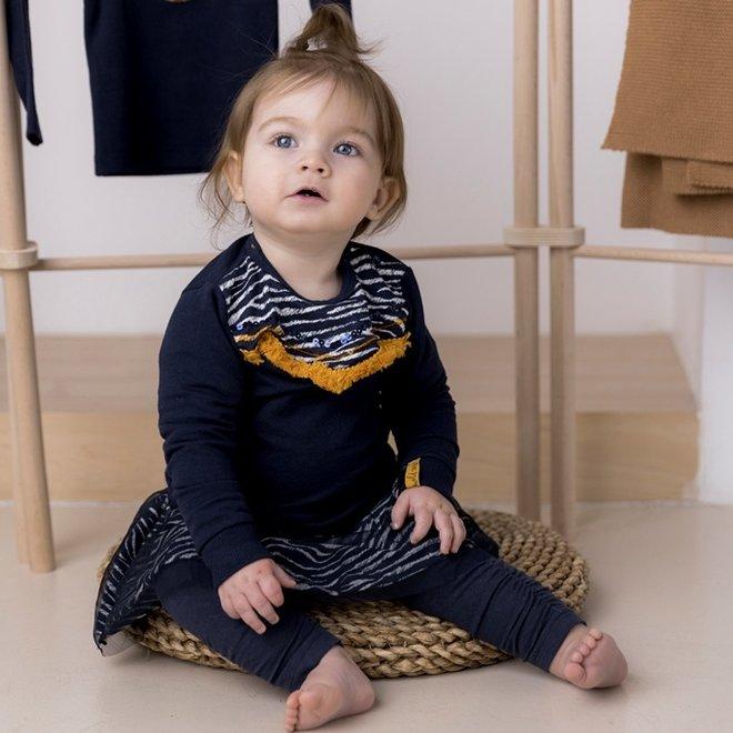 Dirkje girls jumper dark blue yellow zebra print