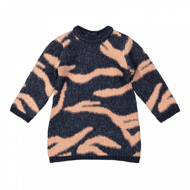 Dirkje girls dress dark blue tiger