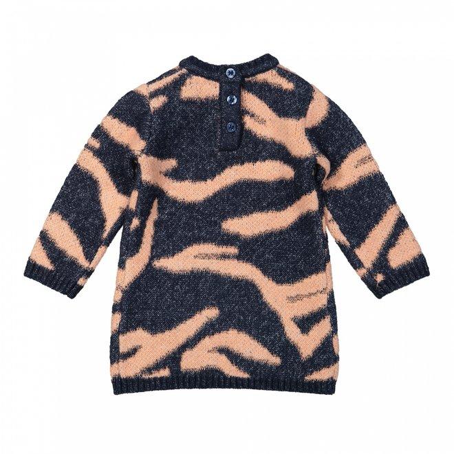 Dirkje meisjes jurk donkerblauw tijger