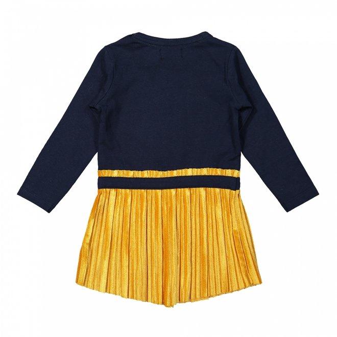 Dirkje meisjes jurk donkerblauw okergeel