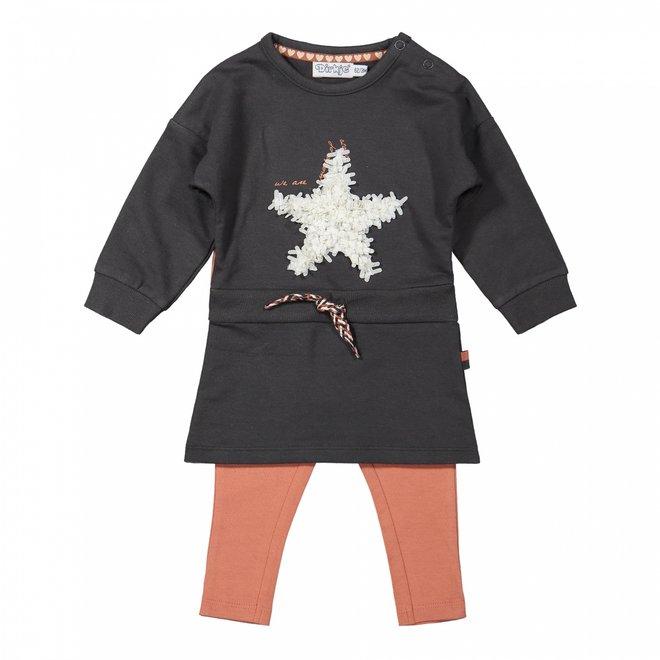 Dirkje Mädchen Baby Set Kleid mit Leggings dunkelgrau Stern