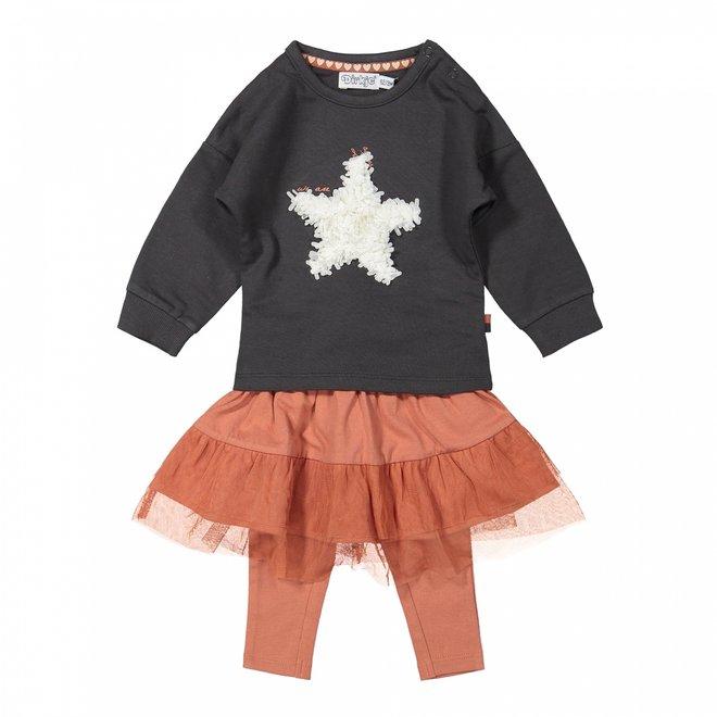 Dirkje Mädchen Baby Set Pullover mit Tüllrock und Leggings grau rosa