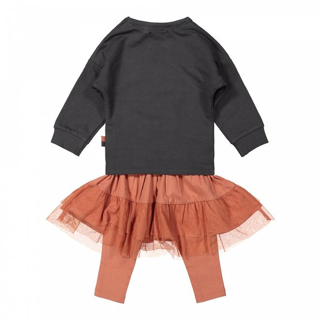 Dirkje meisjes baby set trui met tule rok en legging grijs roze