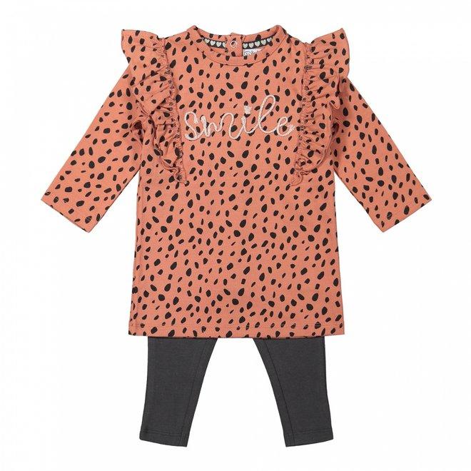 Dirkje Mädchen Baby Set Kleid mit Leggings altrosa grau