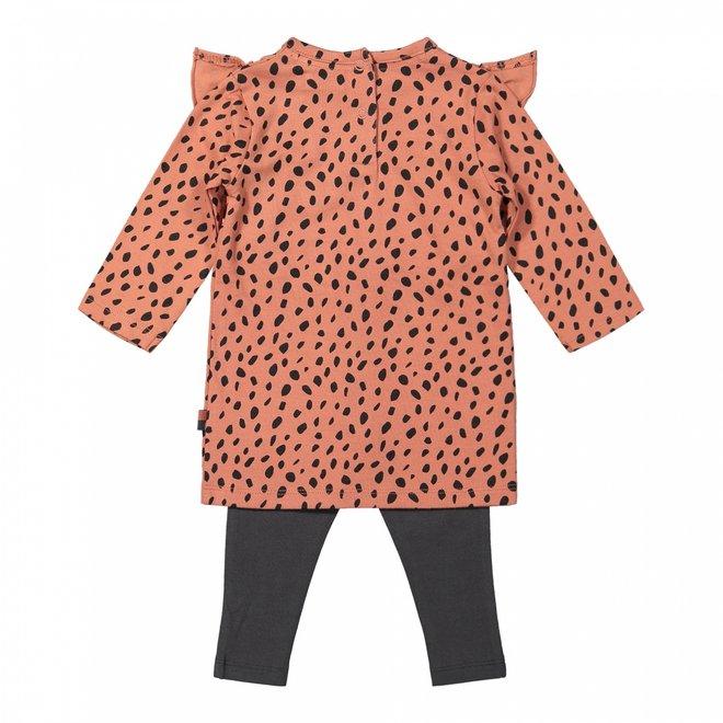 Dirkje meisjes baby set jurk met legging oudroze grijs