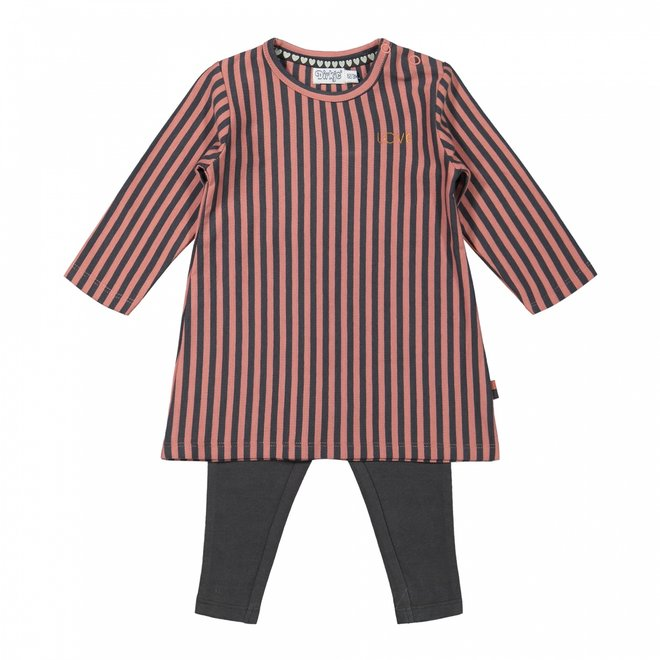 Dirkje meisjes baby set gestreepte jurk met legging oudroze