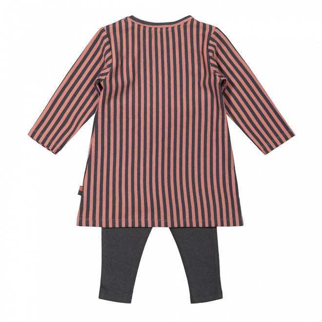 Dirkje Mädchen Baby Set gestreiftes Kleid mit Leggings altrosa