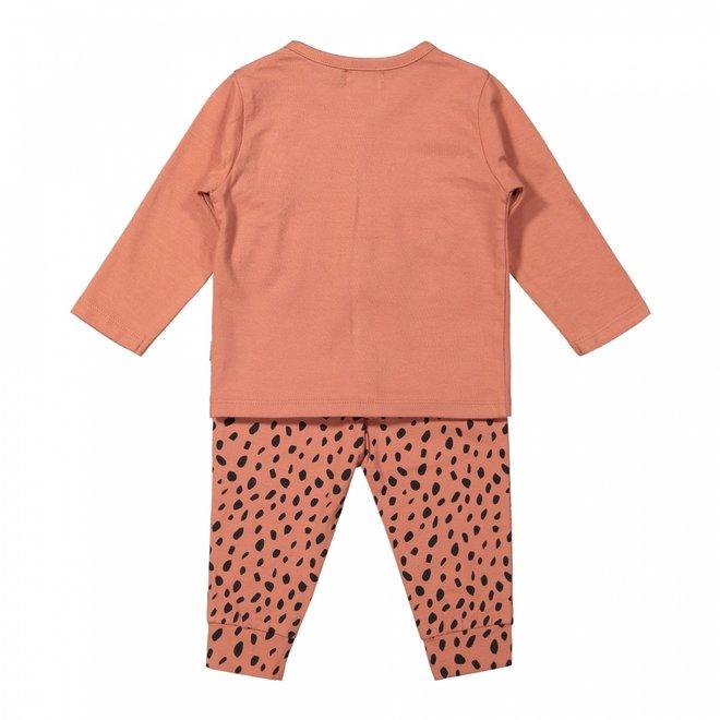 Dirkje meisjes baby set vest met broek en shirt grijs roze