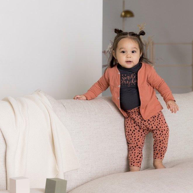 Dirkje Mädchen Baby Set Strickjacke mit Hose und Shirt grau rosa