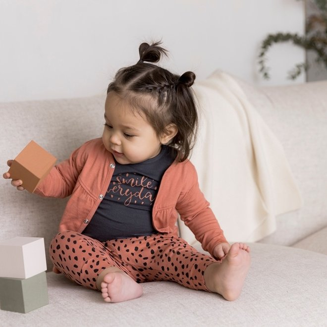 Dirkje girls baby set cardigan with trousers and shirt grey pink