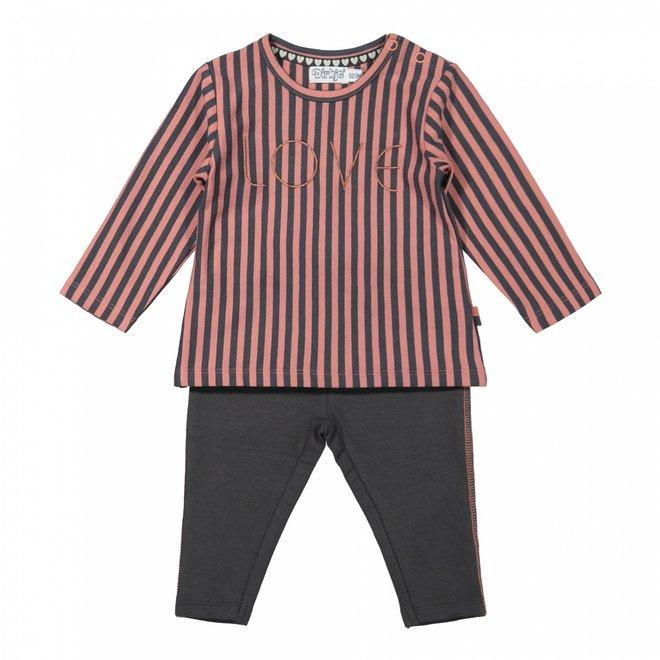 Dirkje girls baby set shirt with trousers old pink grey stripe