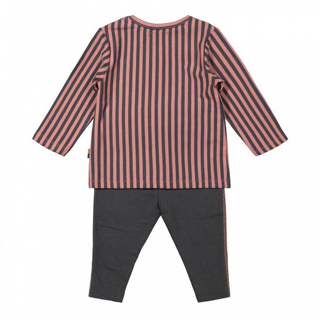 Dirkje meisjes baby set shirt met broek oudroze grijs streep