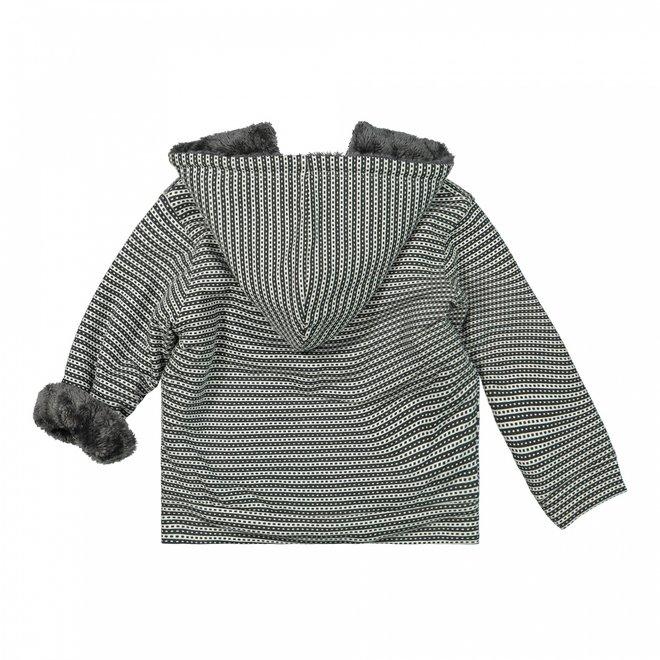 Dirkje girls cardigan dark grey stripes