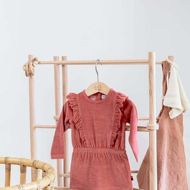 Dirkje girls dress old pink velours with ruffles