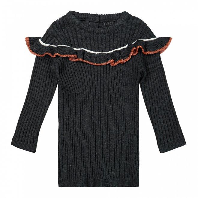 Dirkje Mädchen Kleid dunkelgrau gerippt