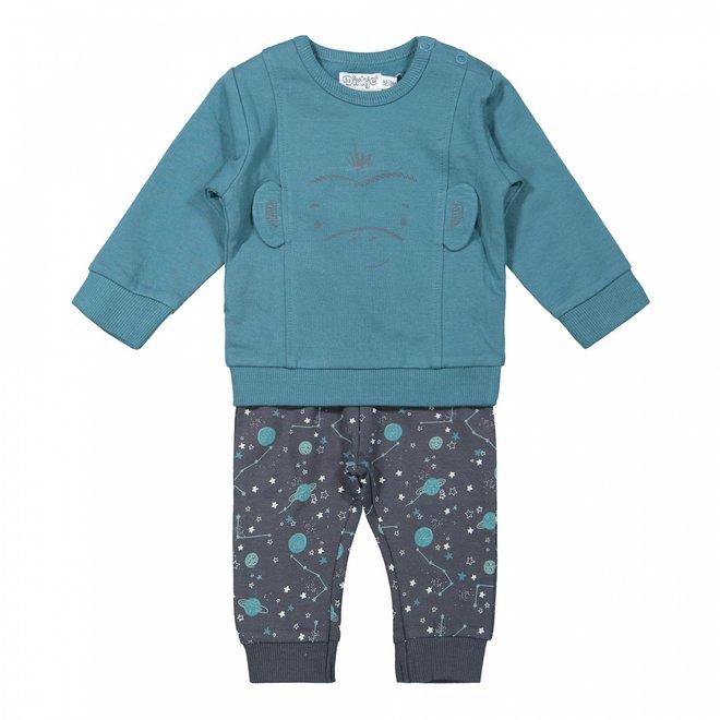 Dirkje jongens baby set trui en broek petrol blauw aapje