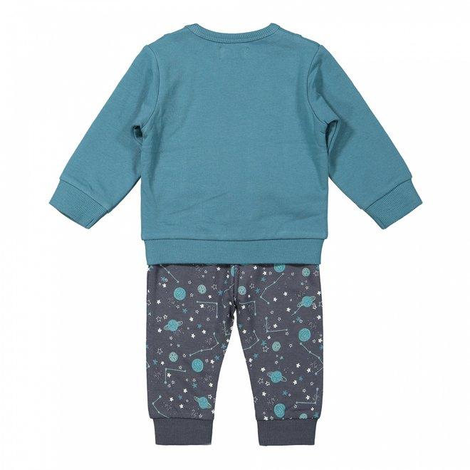Dirkje boys baby jumper and trousers petrol blue monkey