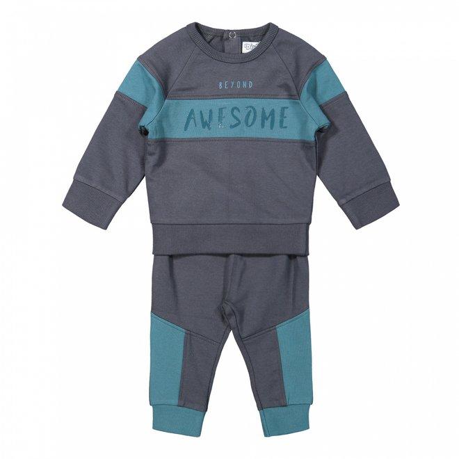 Dirkje Jungen Baby Set Pullover und Hose dunkelgrau