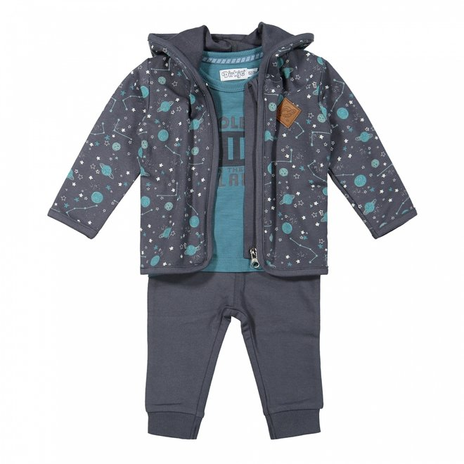 Dirkje boys baby set cardigan shirt trousers dark grey petrol