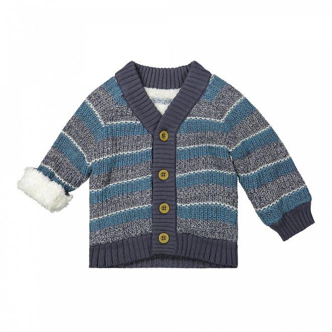 Dirkje boys knitted cardigan grey petrol imitation fur