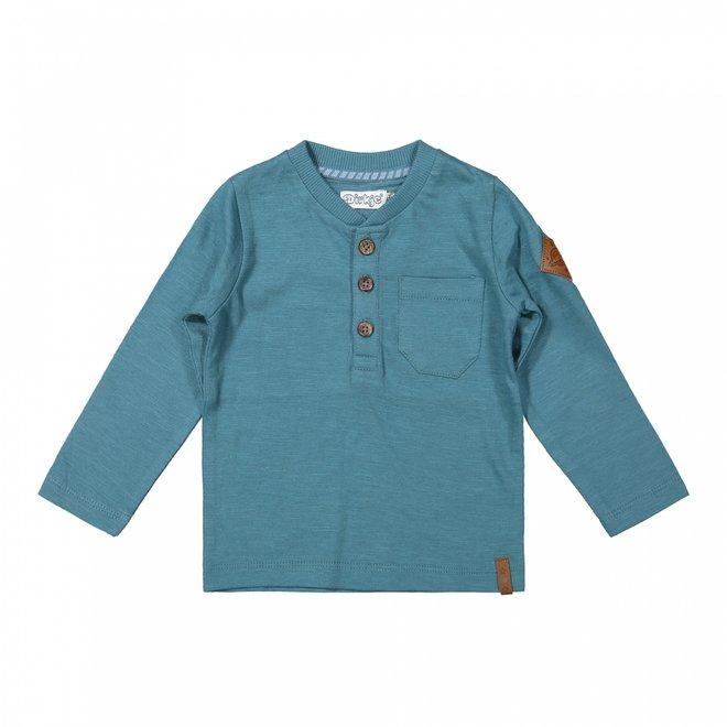 Dirkje jongens shirt petrol blauw knoopjes