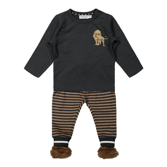 Dirkje boys baby set shirt with trousers and slippers grey