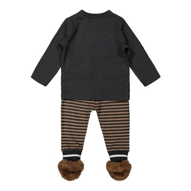 Dirkje jongens baby setje shirt met broek en slofjes grijs