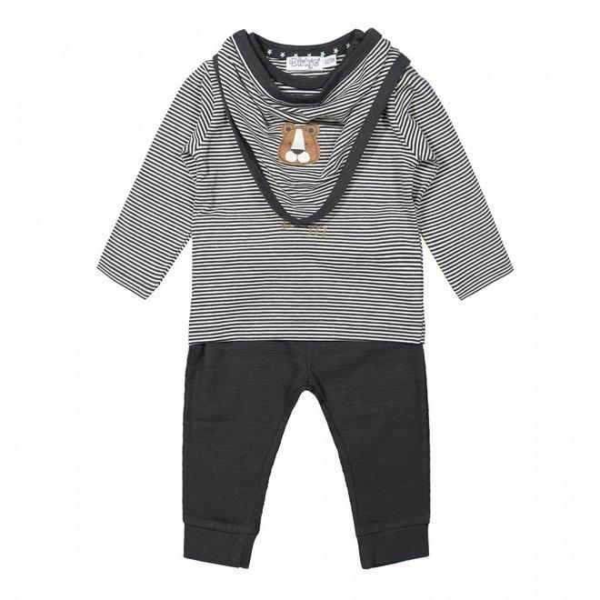Dirkje Jungen Baby Set Shirt und Hose grau gestreift