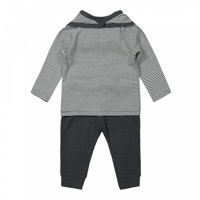 Dirkje boys baby set shirt and trousers grey striped