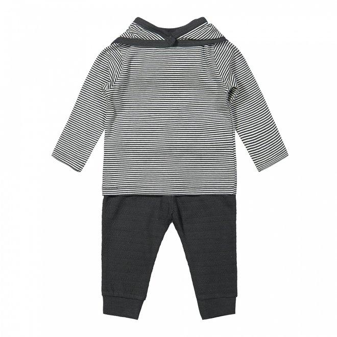 Dirkje jongens baby set shirt en broek grijs gestreept