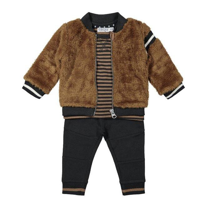 Dirkje boys baby set cardigan shirt trousers dark grey camel