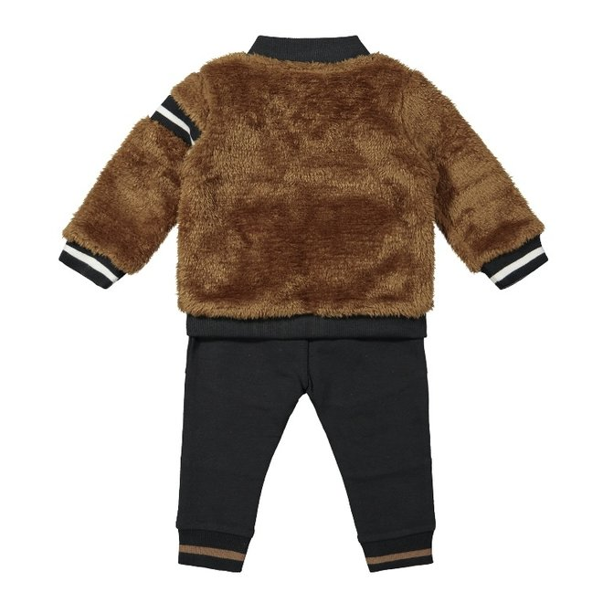 Dirkje Jungen Baby Set Strickjacke Shirt Hose dunkelgrau Kamel