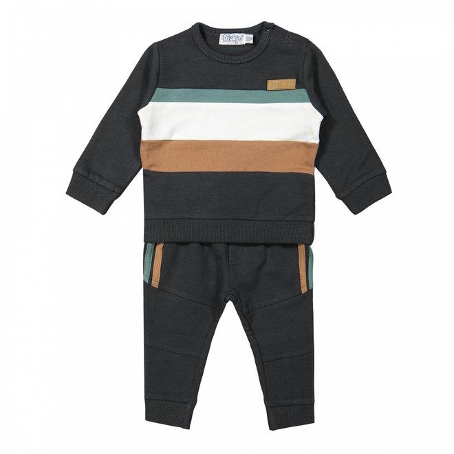 Dirkje Jungen Baby Pullover und Hose dunkelgrau Kamel