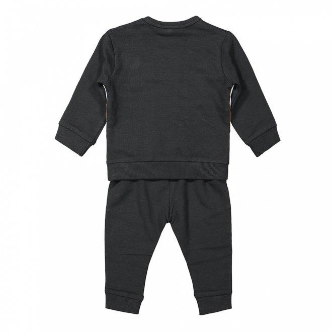 Dirkje boys baby jumper and trousers dark grey camel