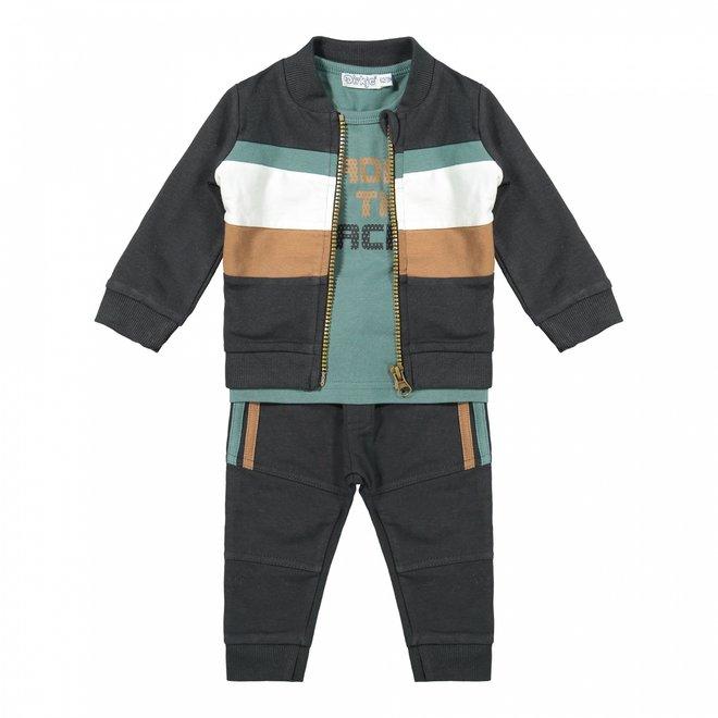 Dirkje jongens baby set vest shirt broek donkergrijs sage