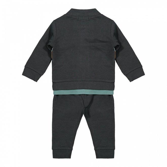 Dirkje Jungen Baby Set Jacke Shirt Hose dunkelgrau Salbei