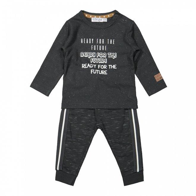 Dirkje jongens baby set shirt en broek donkergrijs gemêleerd