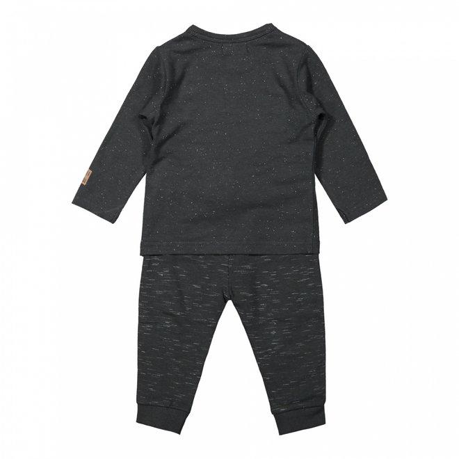 Dirkje boys baby set shirt and trousers dark grey melange