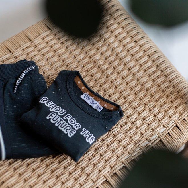 Dirkje Jungen Baby Set Strickjacke Shirt Hose dunkelgrau melange