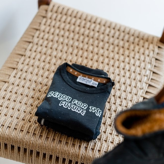 Dirkje jongens baby set vest shirt broek donkergrijs gemêleerd