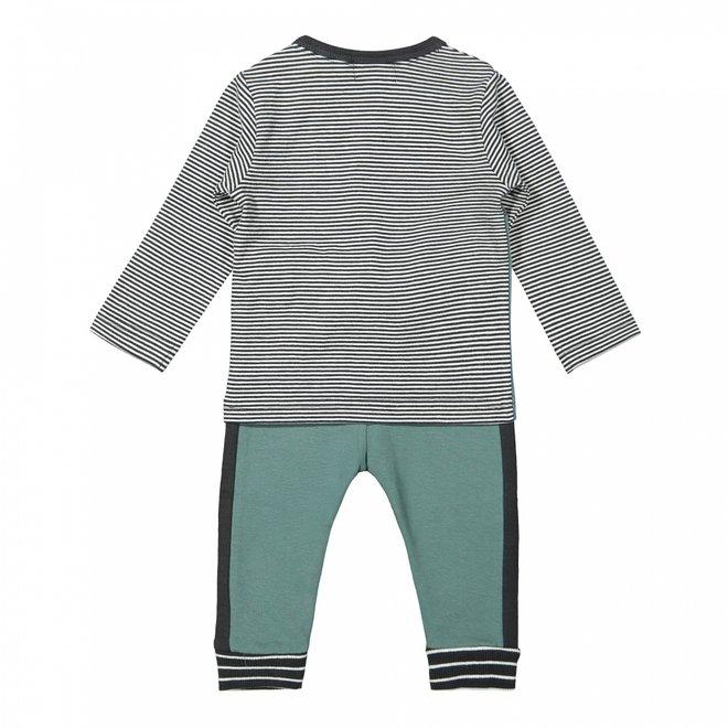 Dirkje boys baby set shirt with trousers sage grey green