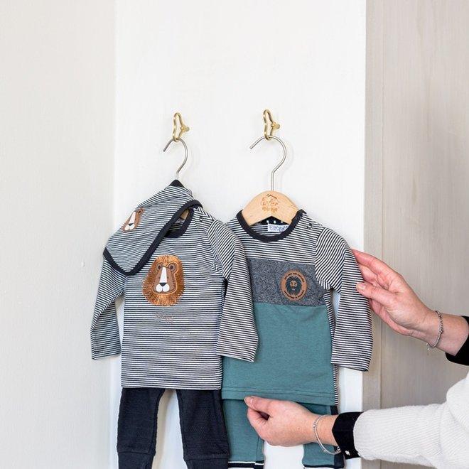 Dirkje jongens baby set shirt met broek sage grijsgroen
