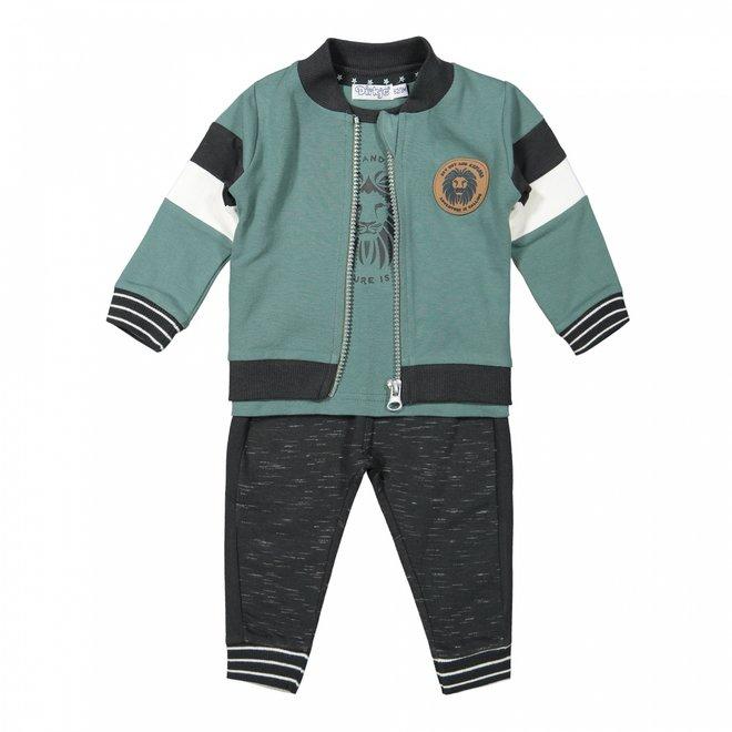 Dirkje boys baby set cardigan shirt trousers sage grey green